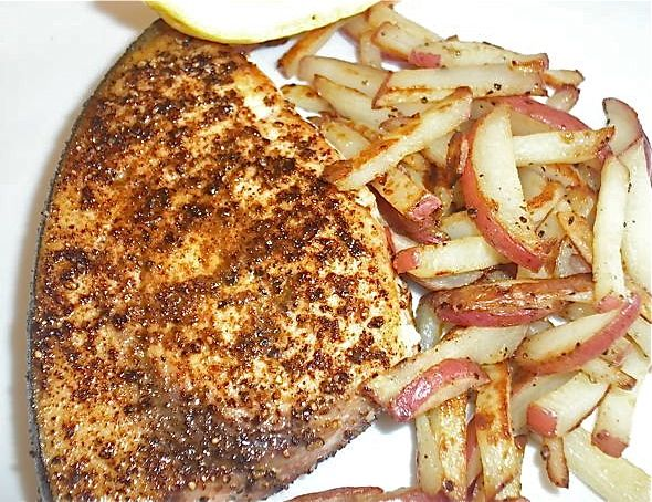 "Blackened Swordfish with Red Potato ""Hash Browns"""