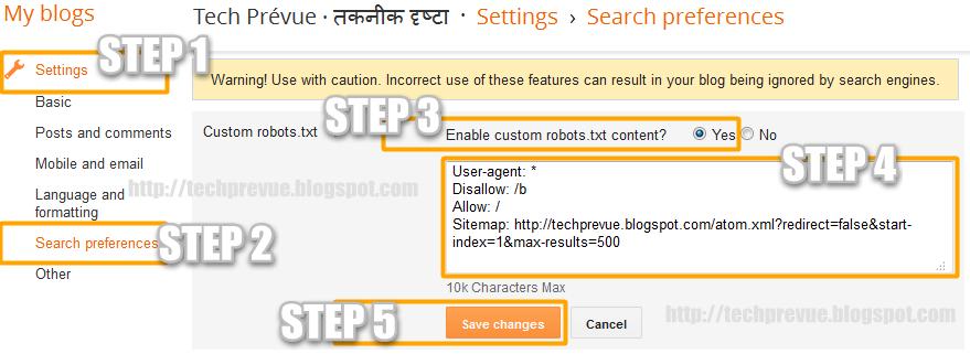 Manage Blogger Custom robots.txt