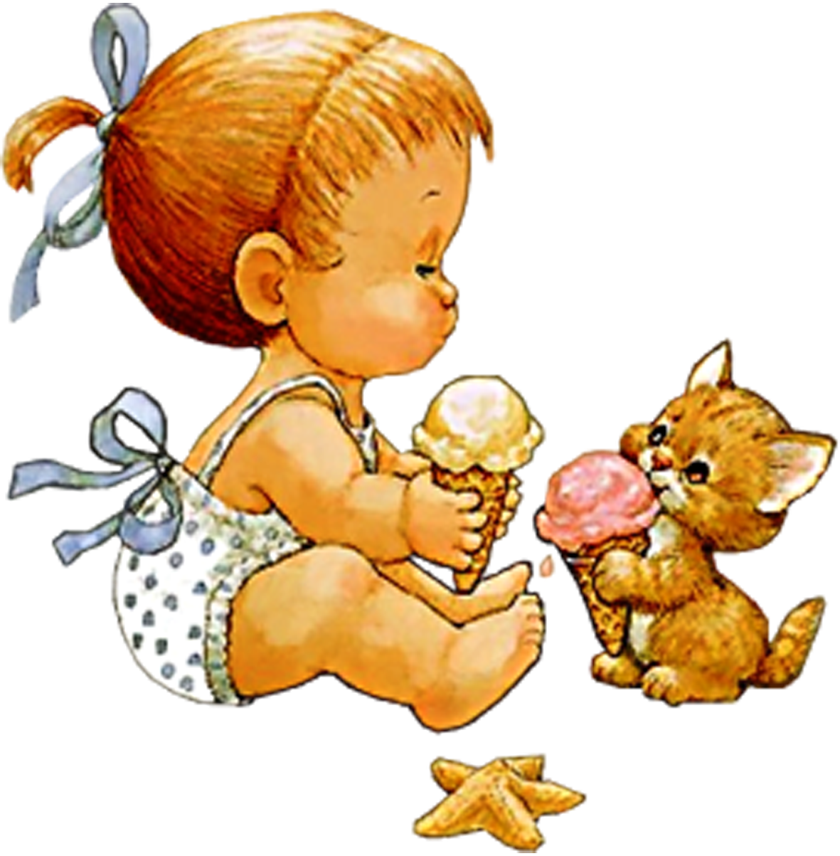Dibujos tiernos-Pequeña niña compartiendo un helado con su gatito