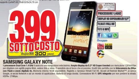 Comet offre in sottocosto il Galaxy Note a 399 euro