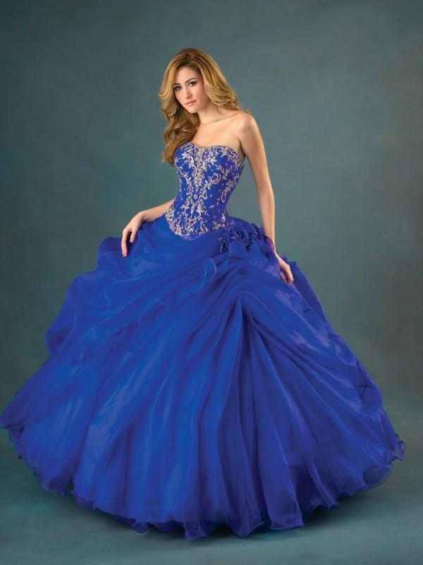 Perfect Blue Ball Gown Bridal Dress Blue Satin And Chiffon Cloak Ball