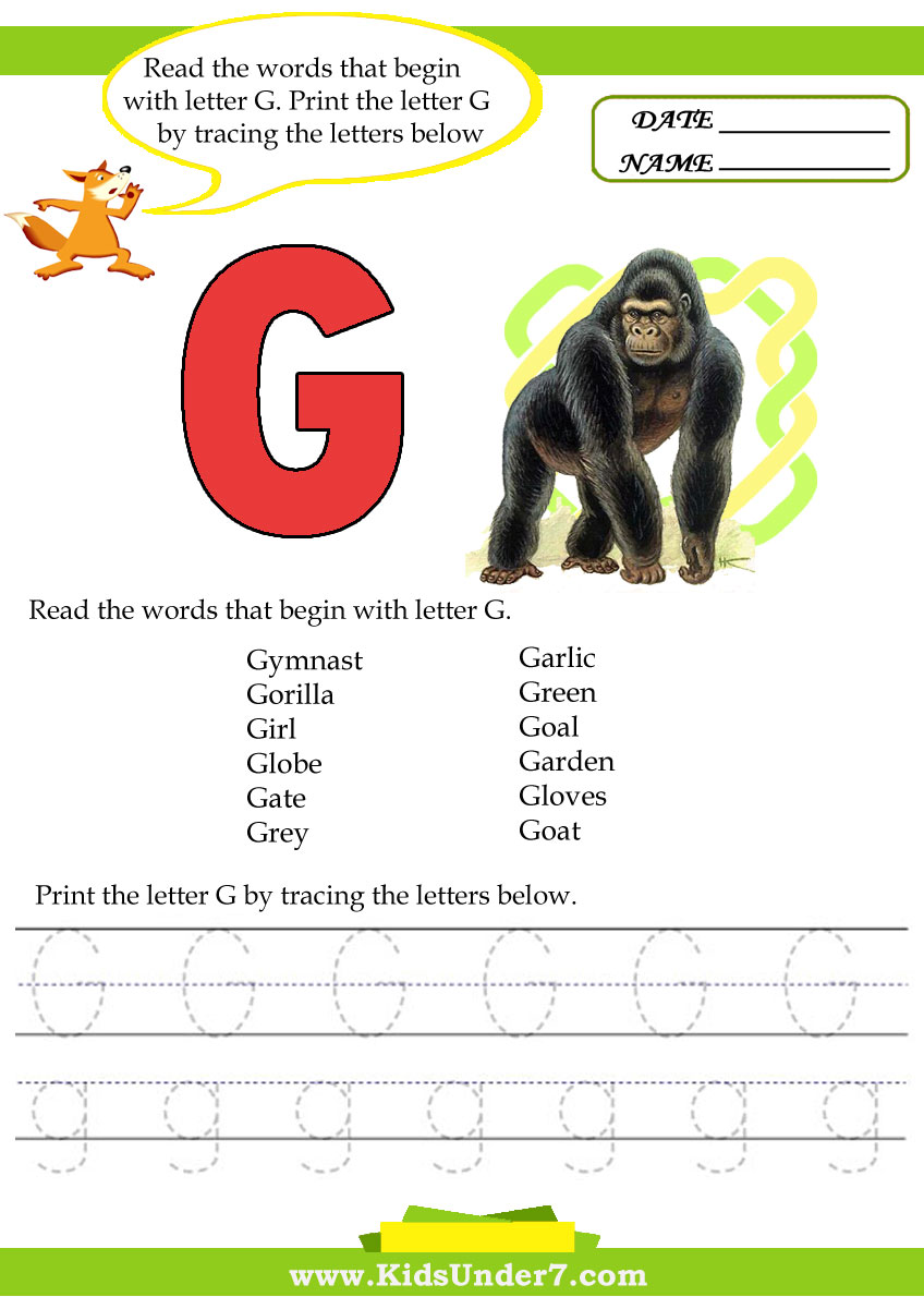Kids Under 7: Alphabet worksheets.Trace and Print Letter G