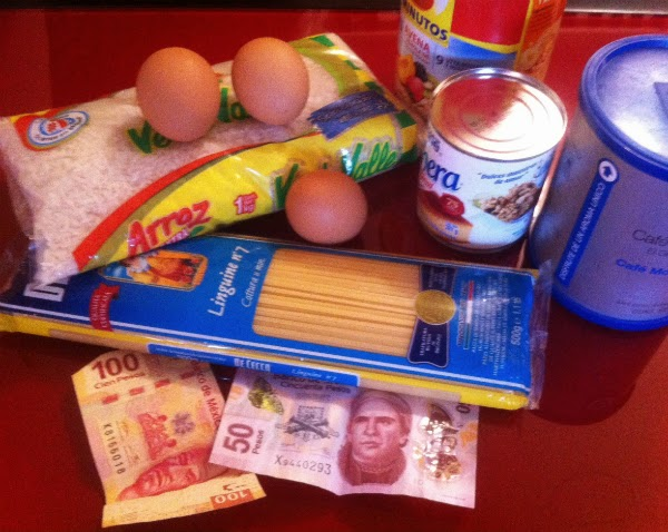 A few of the items in an average family's food basket.  Photo courtesy of Juan Tadeo.