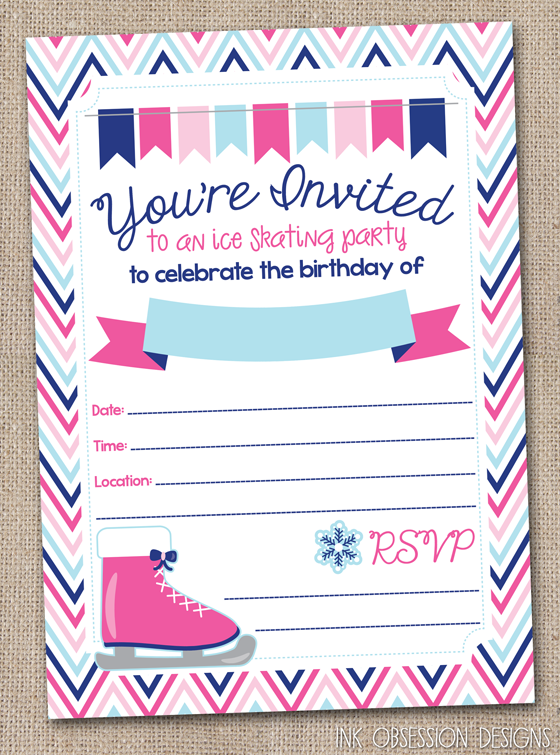 Ink Obsession Designs: Ice Skating Birthday Party Invitations Instant Download PDF