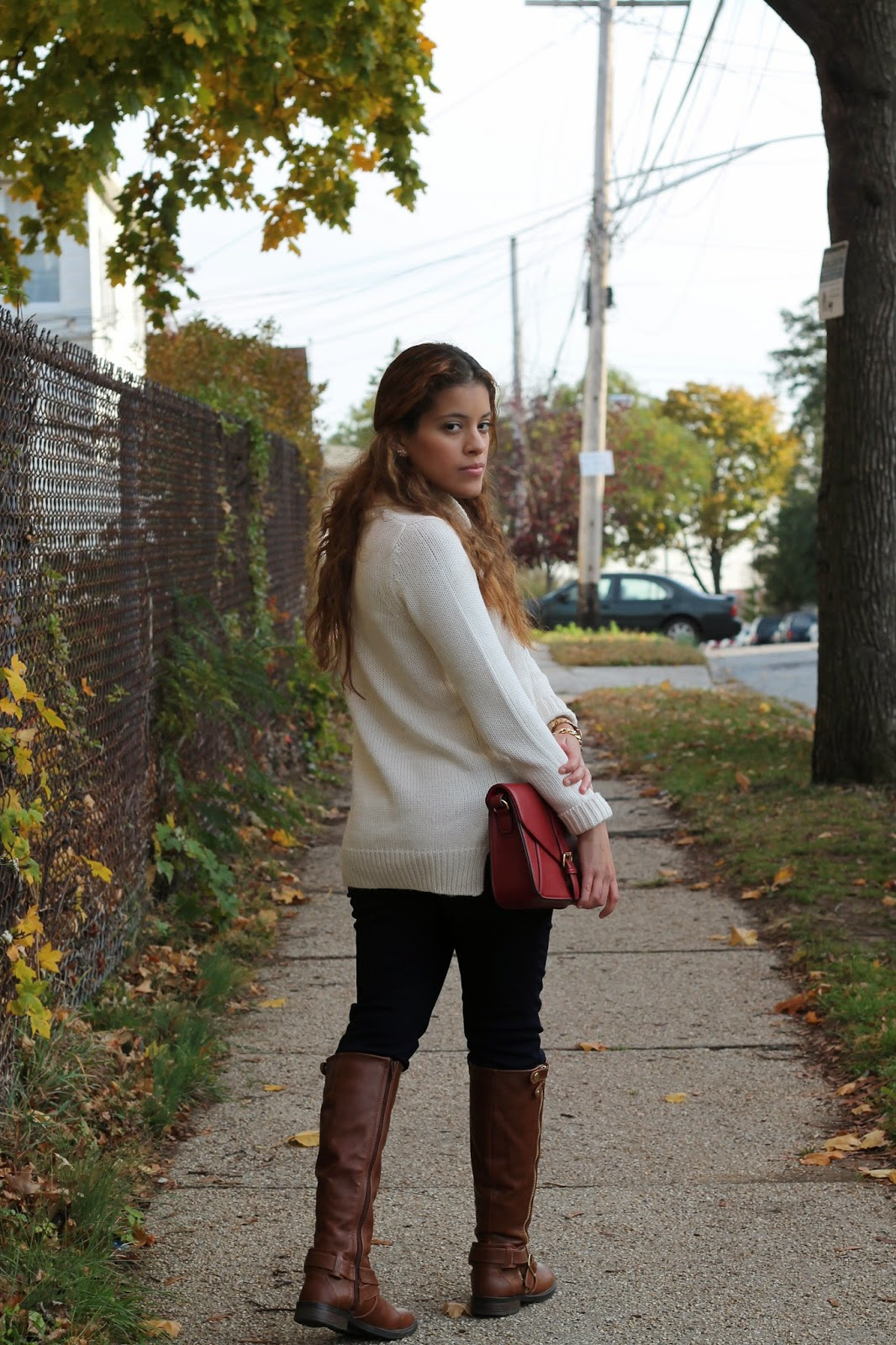 fossil watch, boxy, jeans, forever 21, cream, ivory, red, fashion, style, personal, model, sweater, turtleneck, oldnavy, nordstrom rack, dolcevita