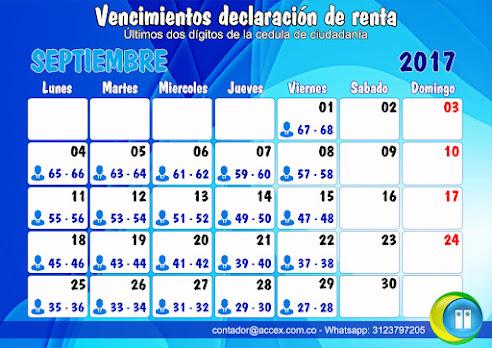 Calendario declaración de renta mes de septiembre de 2017