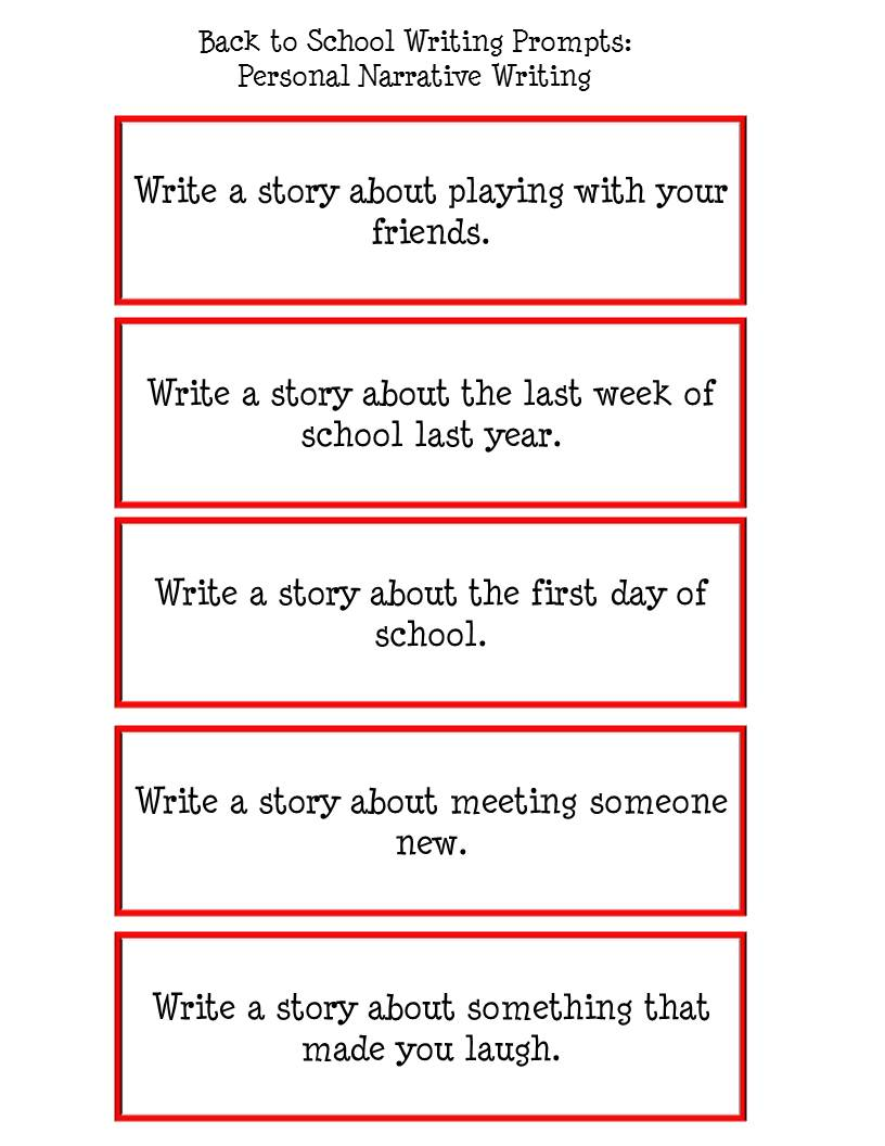 Personal Narrative Writing Worksheet Sample