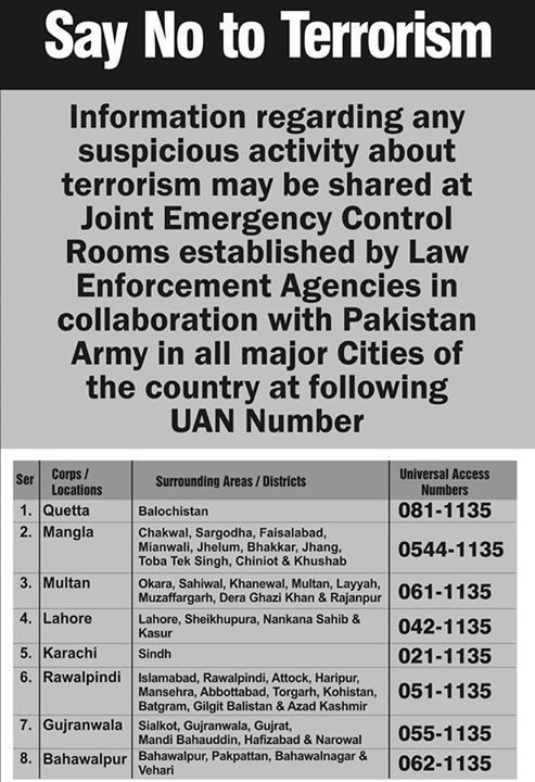 Pakistani Law Enforcement Agencies Contact Numbers