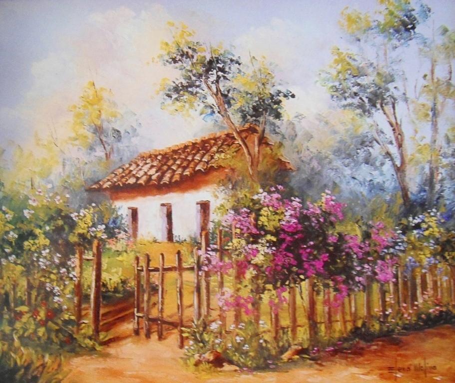 Cuadros modernos pinturas y dibujos paisajes de flores - Paisajes de casas ...
