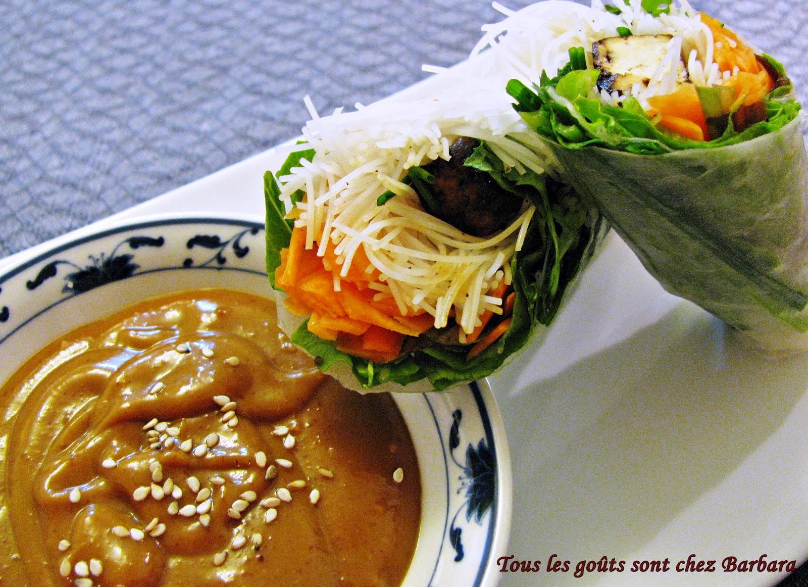 Tous les go ts sont chez barbara rouleaux de printemps au tofu marin et leur sauce au beurre d - Comment griller des arachides ...