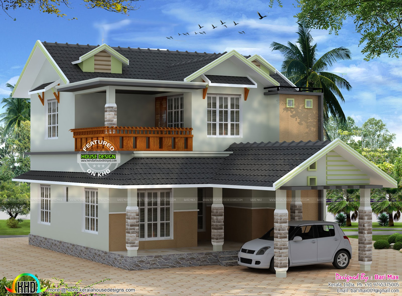October 2015 kerala home design and floor plans for Slope home design