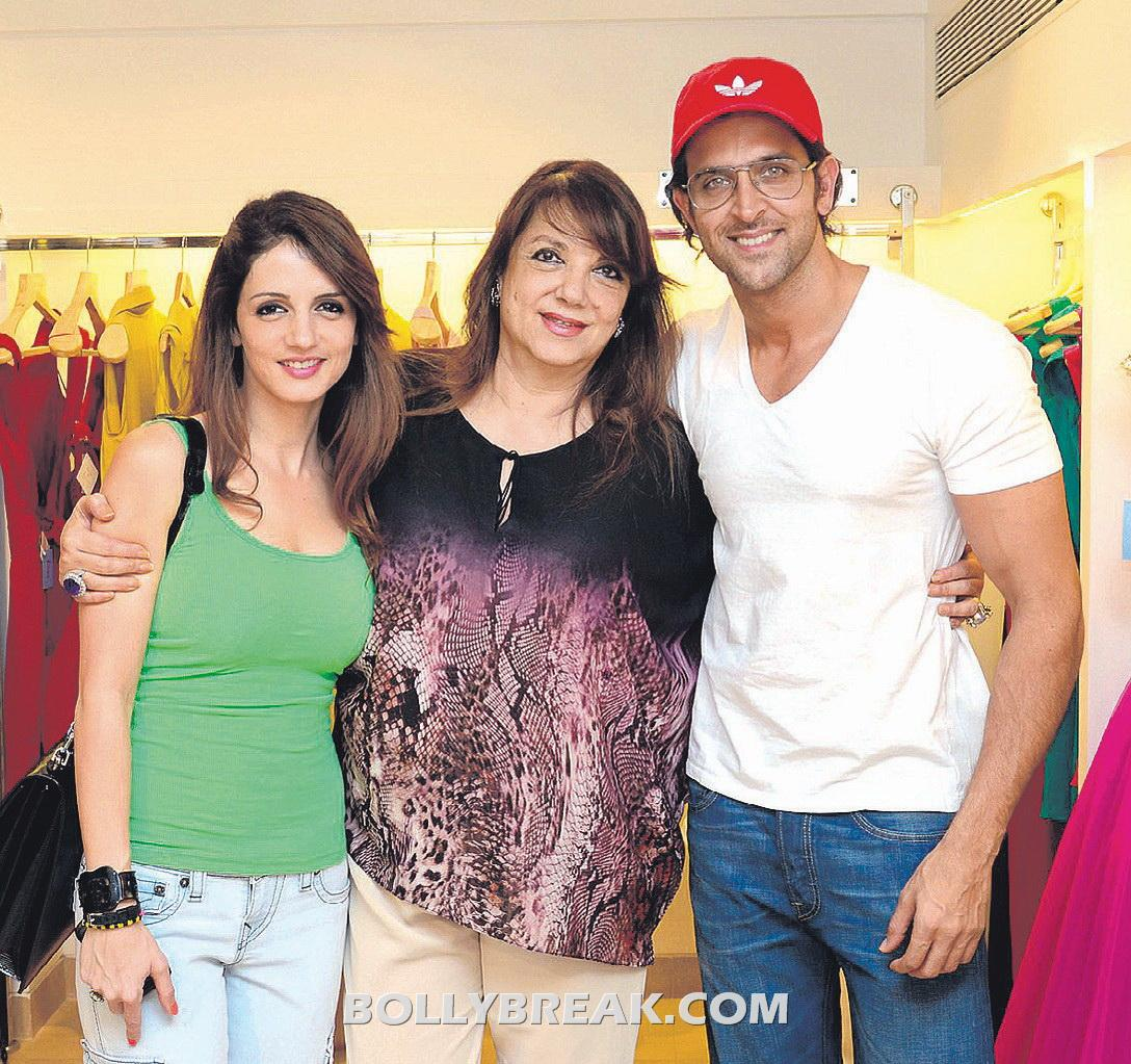 Sussanne Khan real lif epic with hrithik - Hrithik and Sussanne at Zarine Khan's store Fizaa