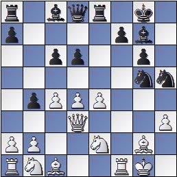 Posición después de 18.Dd3? de la partida de ajedrez Farré vs. Gligoric, I Torneo Internacional de Ajedrez Costa del Sol 1961