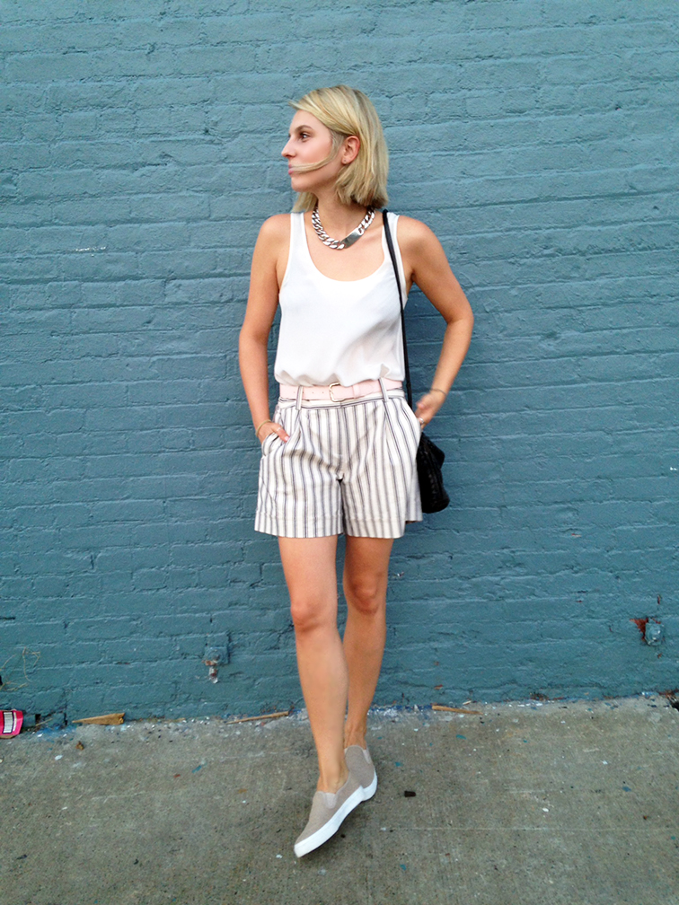 H&M silk tank, Ann Taylor striped bermuda shorts, Gap slip-on sneakers, oversized ID chain necklace, Bottega Veneta intrecciato cross body bag