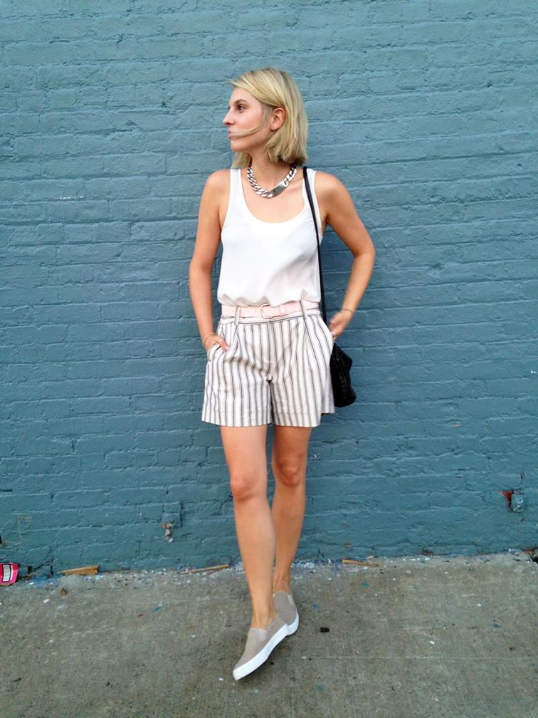 H&M silk tank, Ann Taylor striped bermuda shorts, Gap slip-on sneakers, oversized ID chain necklace, Bottega Veneta intrecciato cross body bag