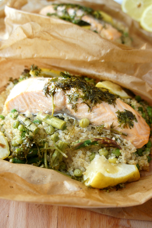 Opened salmon and quinoa parcels