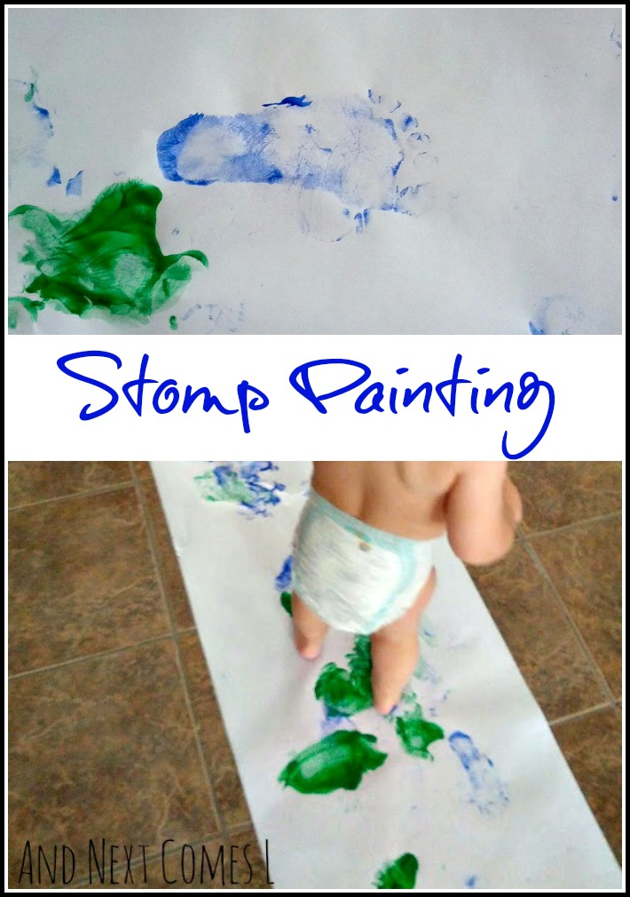 Stomp painting process art for toddlers from And Next Comes L