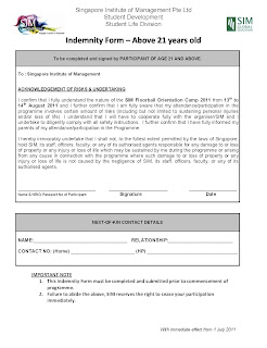 Indemnity Forms (PLEASE CHOOSE THE RIGHT AGE GROUP)  Indemnity Forms