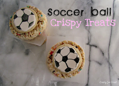 soccer ball krispie treats with cookies on top