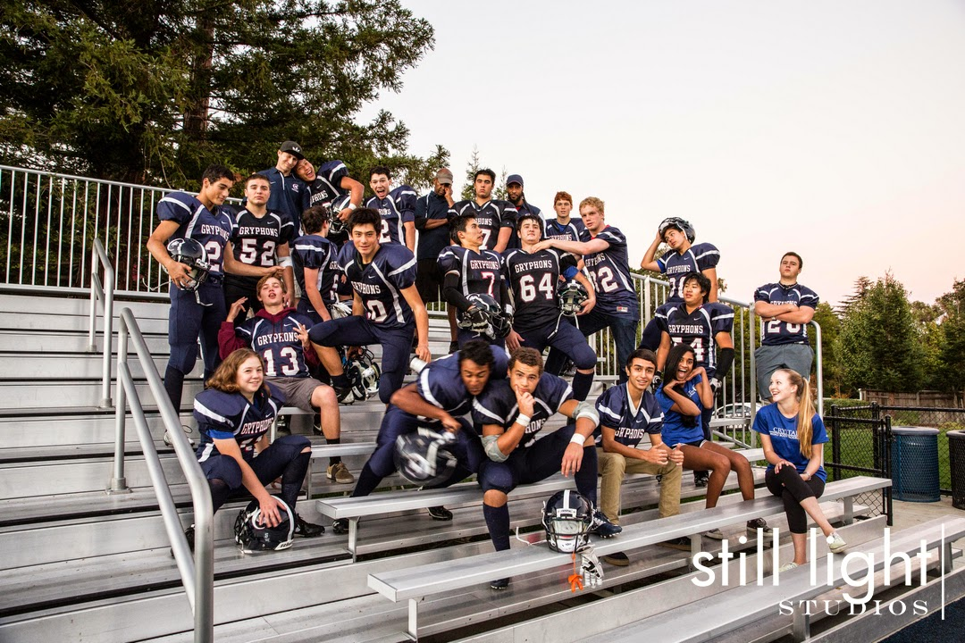 Hillsborough Crystal Springs Uplands Football Team Photo by Still Light Studios, School Sports Photography and Senior Portrait in Bay Area, cinematic, nature