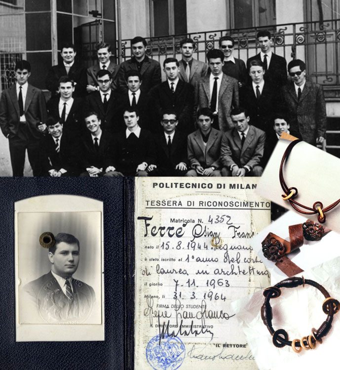 Gianfranco Ferre in 1953, school graduation, student's ID at Milano Technical Institute & first pieces of jewellery