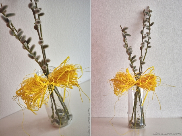 Spring up your home by upcycling - glass jar with willow catkins - home decoration - diy