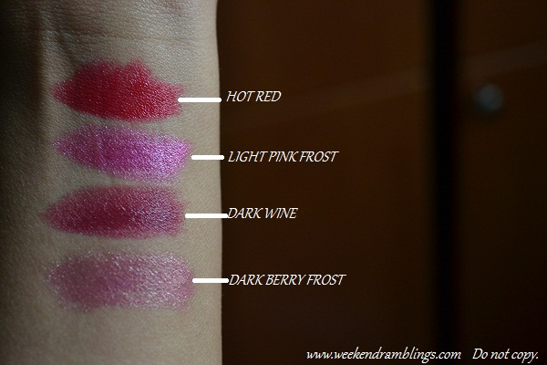 reviews swatches drugstores lipsticks budget cheap makeup wet n wild silk finish 502A dark pink frost 505A light berry frost 522A wine 519A hot red inexpensive college