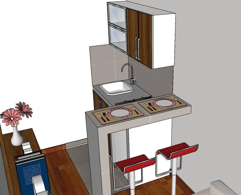 Dise o de interiores kitchenette for Diseno minidepartamento