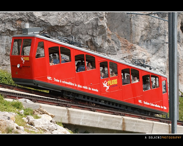 The World's Steepest Cogwheel Railway at Mount Pilatusbahn