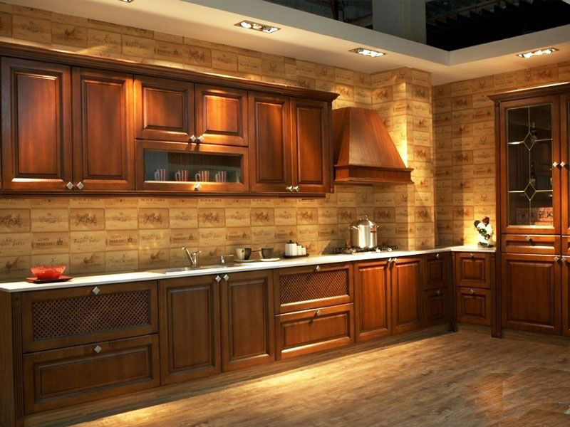 Foundation dezin decor elegant work of wood paneling for Solid wood kitchen cabinets