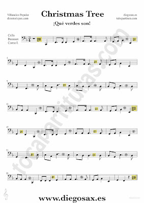 Tubescore Christmas Tree sheet music for Cello and Bassoon Christmas Carol music score