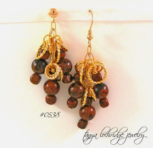 Mahogany Obsidian Gemstone & Gold Vermeil Earrings