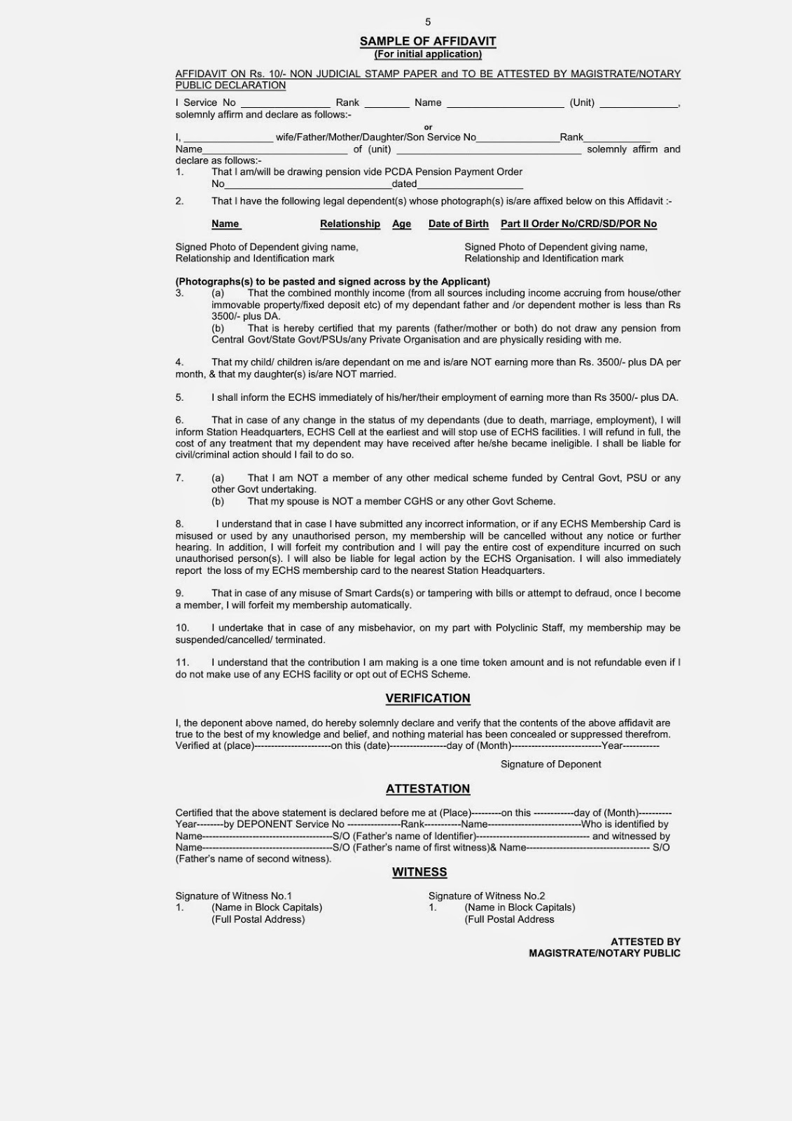 Echs application form for membership rev 2015 central government echsapplicationformformembershipformatofaffidevit altavistaventures Images