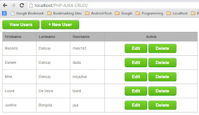 CRUD with jQuery and PHP - screenshot