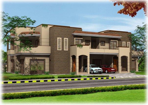 Casatreschic interior wapda town 10 marla 3d front for Home designs 2009