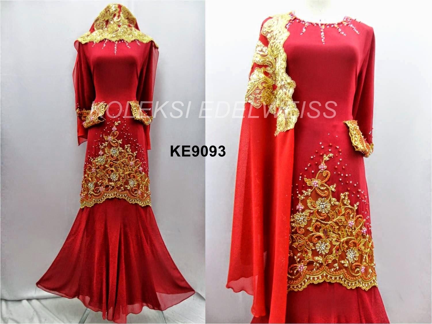 Baju Kurung Moden Tunang dan Nikah Warna Merah
