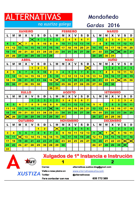 Mondoñedo. Calendario gardas 2016