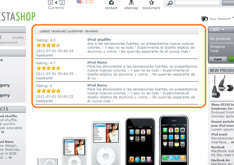 latest product reviews displayed on home page