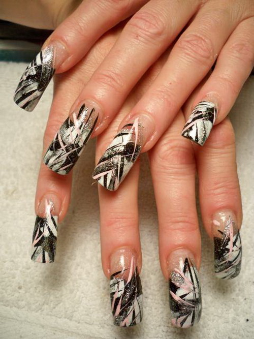 Line Art Nails : Nail art mania best from web black white line