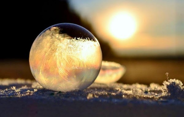 A frozen bubble. - The 30 Most Amazing Photos Of Frozen Things In Honor Of The Coldest Morning Of The 21st Century