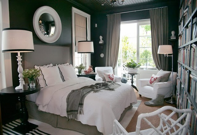 Dark Grey and White Bedroom 640 x 440