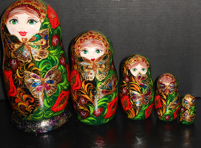 "Russian nesting dolls (matryoshka in russia) in the modern style ""Kiss of Butterfly"". Modern russian souvenits from Russia. Set of 5 puppets a tall matryoshka dolls largest ~ 5.9"" (15 sm)."