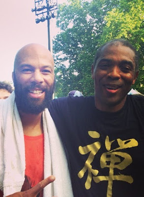 Femi Kuti pictured with Common at concert in New York City