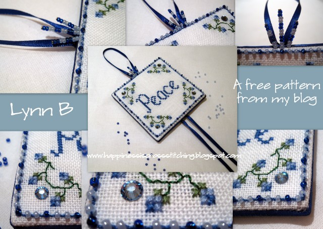 Happiness Is Cross Stitching Peace Design Finished As A Cross