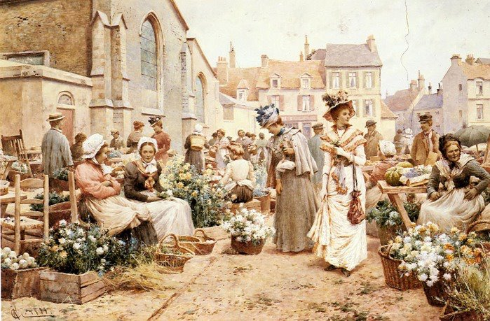 Flower-Market-In-A-French-Town-Alfred-Glendening-oil-on-canvas-140-cm-x-270-cm