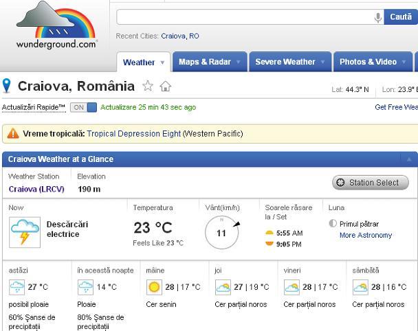 Vremea in Craiova pe Wunderground