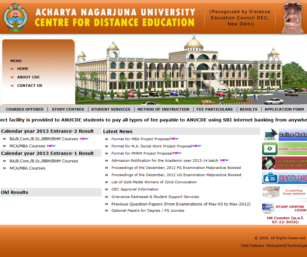 about acharya nagarjuna university centre for distance education website screen shot