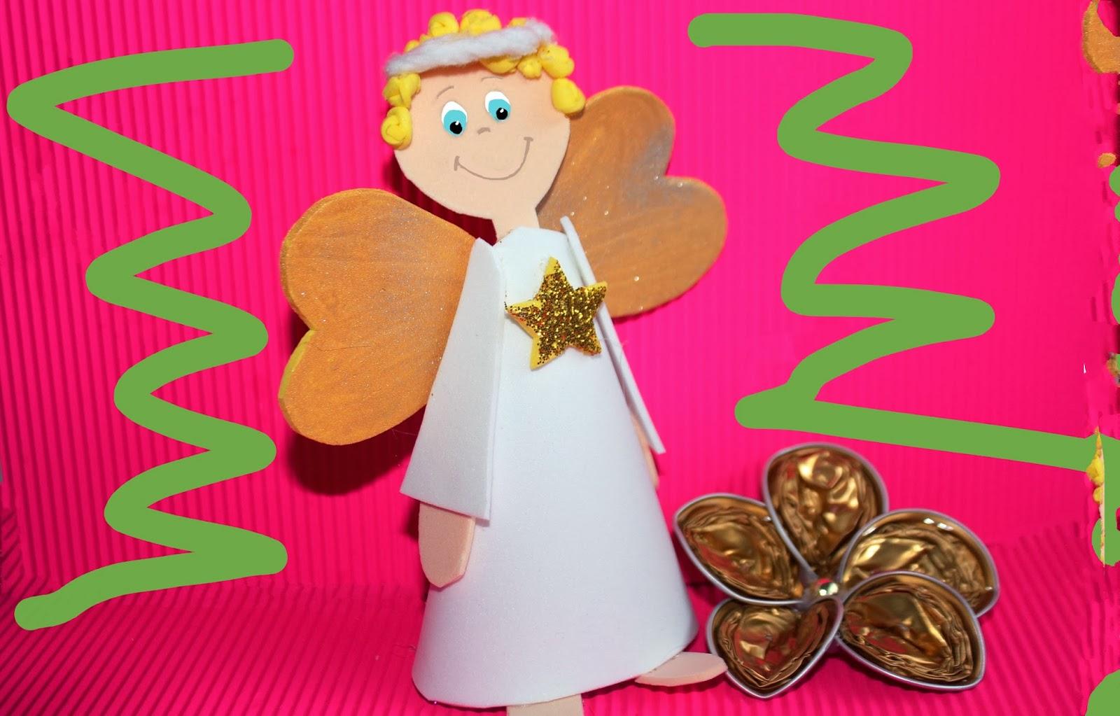 Angel de goma eva o cart n con moldes manualidades de navidad for Manualidades con goma eva para navidad