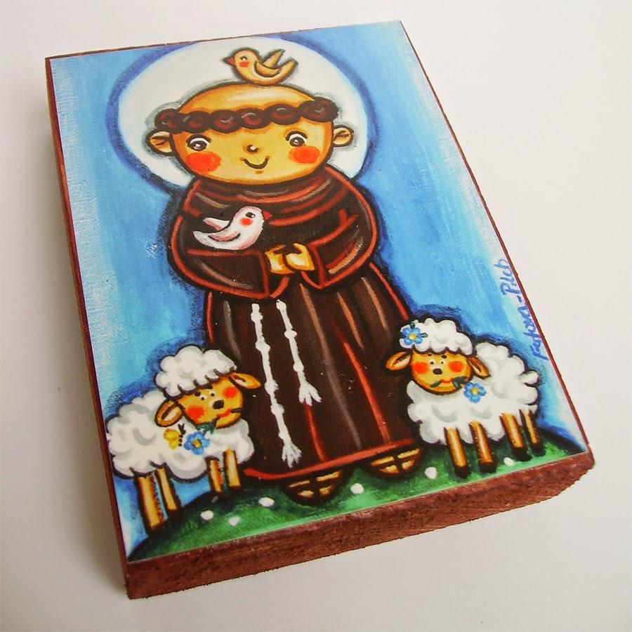 Drewniany obrazek obraz ilustracja święty Franciszek święta patron święci błogosławiona błogosławiony dla dziewczynki chłopca chłopczyka dziecka prezent upominek na gwiazdkę ozdoba dekoracja bożonarodzeniowa świąteczna Jezus Chrystus Matka Boska Różańcowa różaniec Maryja dziecko pamiątka chrztu chrzest pierwsza bierzmowanie komunia narodziny urodziny