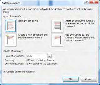 Microsoft auto summarize